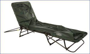 Tent Cot used as a chair.