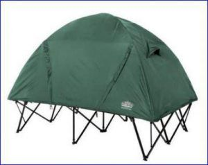 The tent cot with the rain fly.