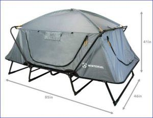 The tent with closed all windows and doors. The numbers show the size: 85 x 46 x 41.