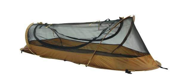 The tent used on the ground.