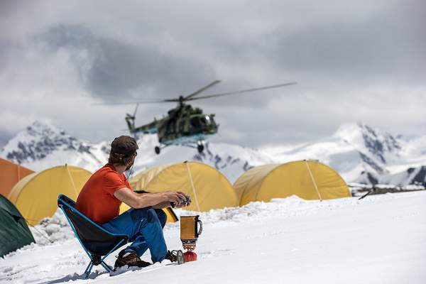 Big Agnes Chair One in a snow camp.