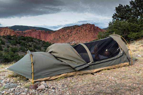 The Kodiak bivy tent used on the ground.