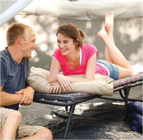 Coleman ComfortSmart camping cot can easily fit in any tent and the legs do not damage the floor.