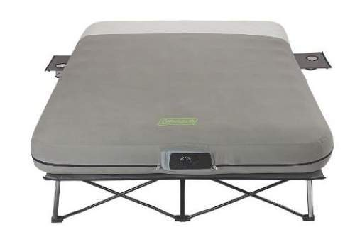 The Coleman Queen Frame Airbed Cot with Side Tables and Built-In Pump.