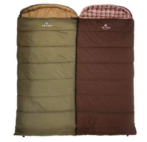 Two Teton Sports Celsius Regular sleeping bags zipped together - a great combination with double camping cots.