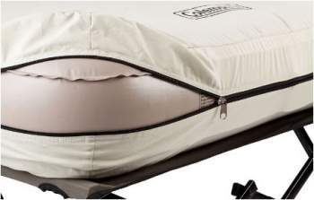 The mattress with cover.