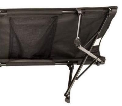 Mesh storage hammock underneath cot.