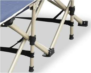 Numerous support bars and straps for stability. Legs are protected by plastic caps.