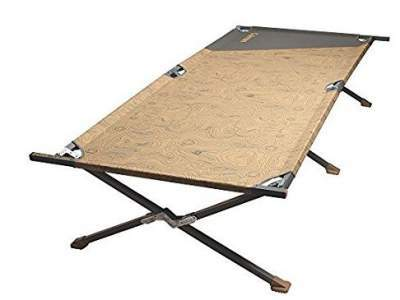 The Coleman Big-N-Tall Cot - a typical military style tool with end bars and X-shaped legs.