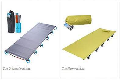 The Yahill Ultralight Folding Bed Portable Cot in two different versions - see the legs.