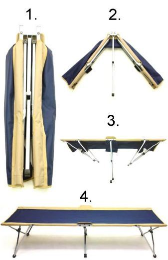 The Easy Cot - a collapsible camping bed.