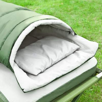 The included sleeping bag and the sleeping pad can be used separately as a backpacking tool, or with the cot alone, or with the complete system.