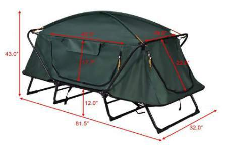 Tangkula tent cot - all dimensions
