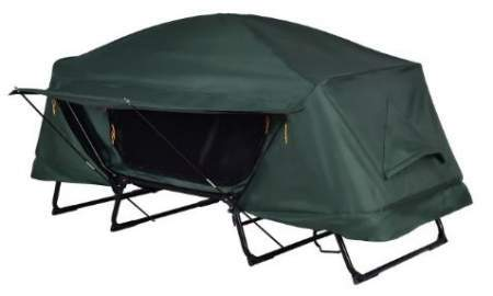 This is the tent cot with its rain fly. So the only entrance on the fly is with nice poles which create a pleasant awning.