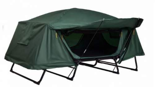 Awning setup with the poles and the dooru0027s flap.  sc 1 st  Best Tent Cots For C&ing & Tangkula 2 Person Tent Cot u2013 Folding u0026 Waterproof - Best Tent Cots ...
