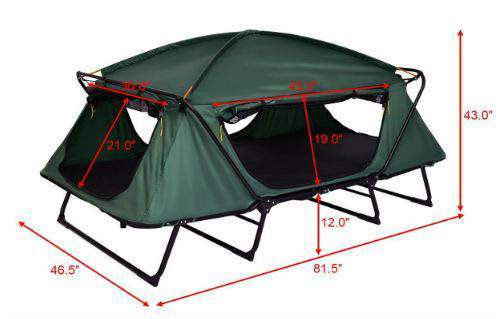 Here is the tent cot shown without the fly, and with all dimensions.