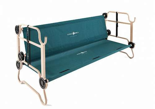 Here, the bunk bed is transformed in a bench.