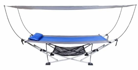 Medium image of mac sports portable fold up hammock with removable canopy