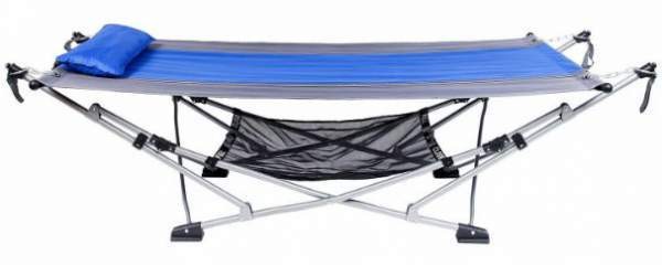 Mac Sports Fold Up hammock shown without canopy. This is how it would be used in a tent.