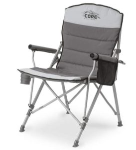 CORE Equipment Folding Padded Hard Arm Chair with Carry Bag