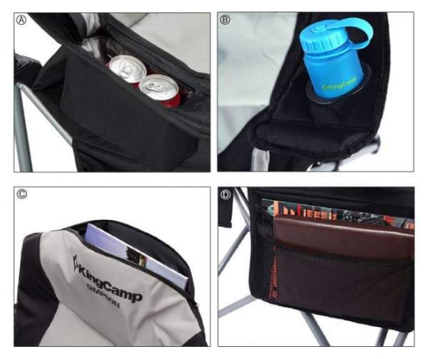 Bonuses with the KingCamp chair: the cooler, the cup holder, the zippered top pocket, and the storage pouch.