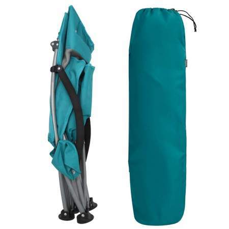 The chair folds towards the center to fit its carry bag.