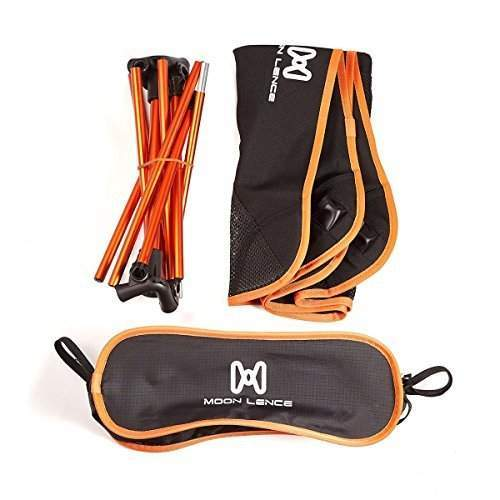 Just three elements: the interconnected poles, the sling, and the carry bag.