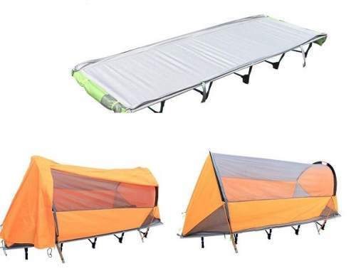 2-in-1 system; the cot and the tent-cot with and without the fly.