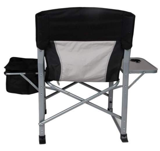 The back view showing how wide the chair is with the cooler and the side table.