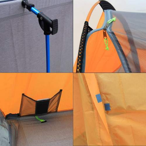 Some details - the shock-corded legs, aluminum tent pole, the storage pouch, and Velcro tabs.