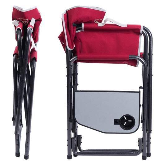 This is the chair when folded, the view from two sides. It is very thin in one dimension. The side table folds as well.