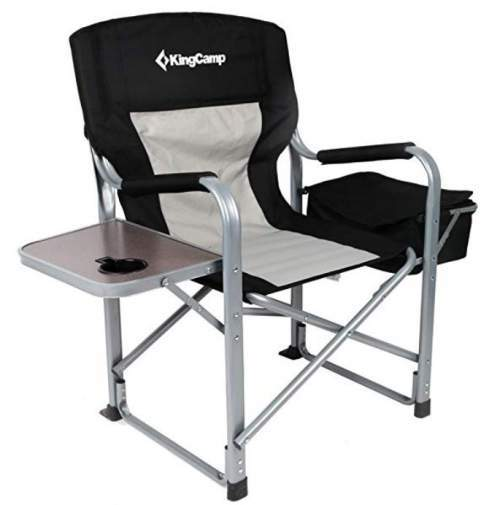 KingCamp Heavy Duty Steel Folding Chair with side table and cooler.