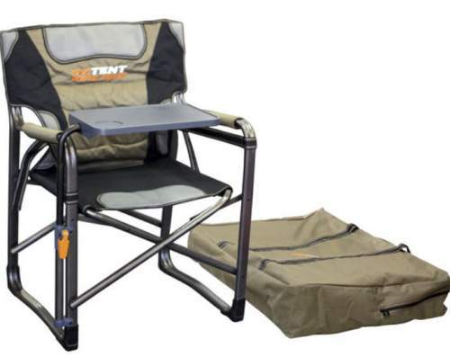 OzTent Gecko Camping Chair with Lumbar Support and Swivel Table.