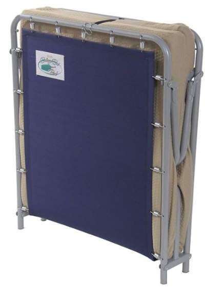 The mattress folds for transportation on the underside of the cot.