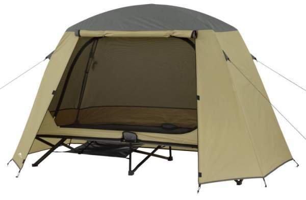 Ozark Trail One-Person Cot Tent with the fly on.