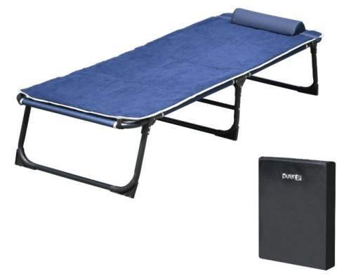 Purenity Comfort Folding Military Bed with its carry bag.