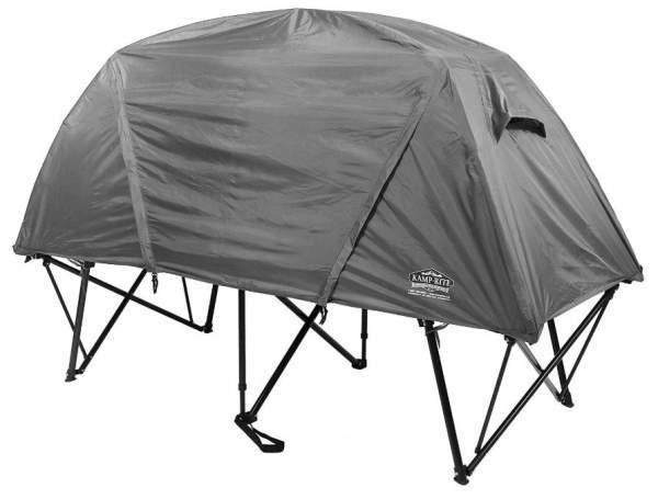 This is the tent-cot shown with the fly on.