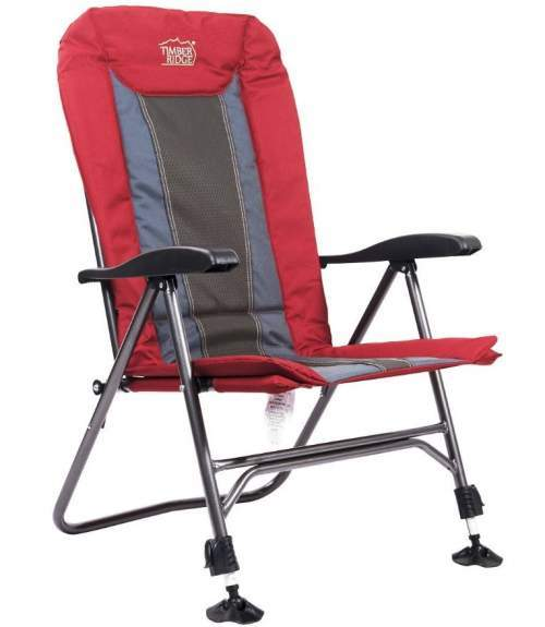 Timber Ridge Camping Chair with Adjustable Reclining Padded Back.