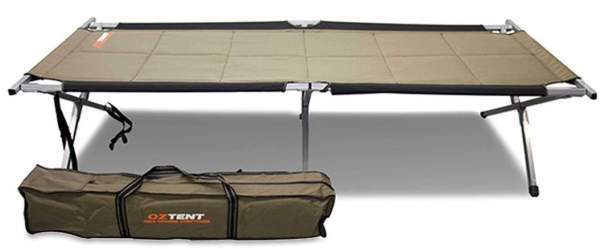 OzTent King Goanna Camping Cot with its carry bag.