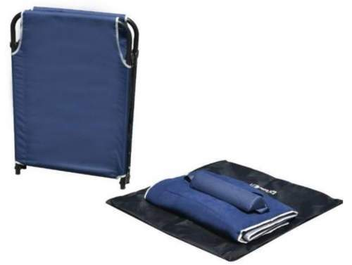 All the elements: the bed, the mat, the pillow, and the carry bag.