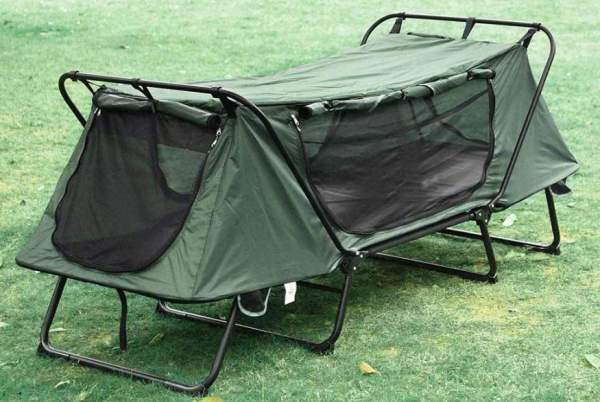 Yescom 1-Person Folding Tent Cot with panels rolled up.