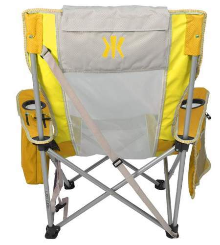 The back view showing the carry strap and closure strap under the seat.