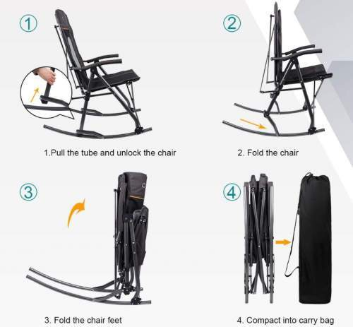 The steps of folding the chair - it remains long in one dimension only.