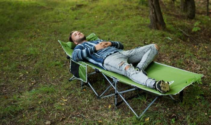 Alpcour Folding Camping Cot With Headrest Great Price
