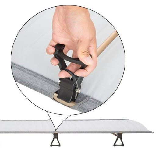 The legs attachment to the side bars, with a locking mechanism.