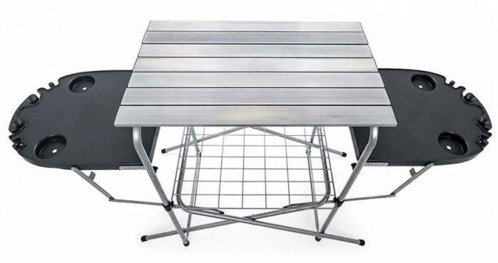Camco Deluxe Foldable Outdoor Grilling Table with Side Tables.