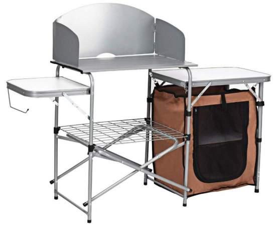 Giantex Folding Grill Table with Storage Lower Shelf and Windscreen.
