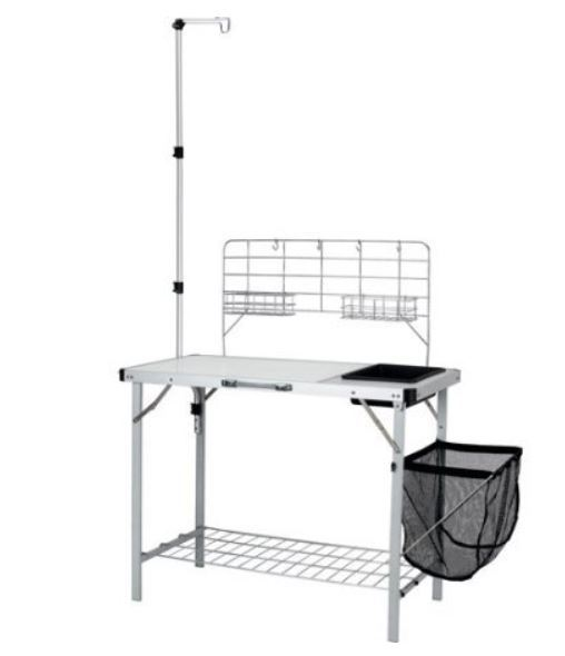 Ozark Trail Portable Camp Kitchen and Sink Table with Lantern Pole.