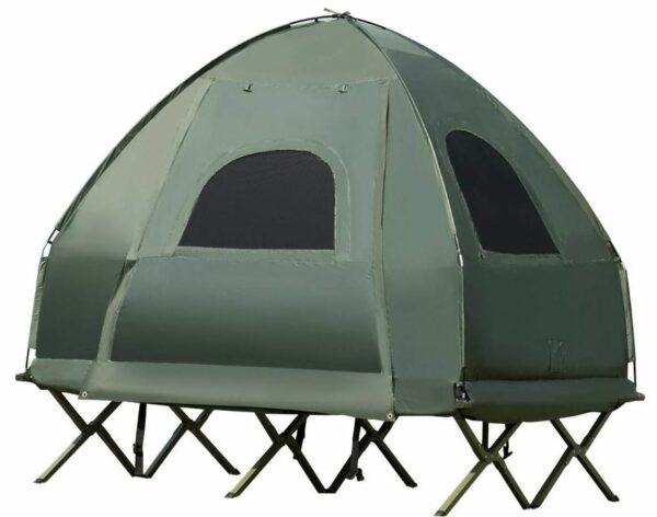 The tent-cot configuration with the tent attached to the cot.