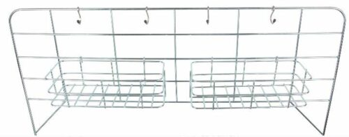 Vertical rack with storage elements.
